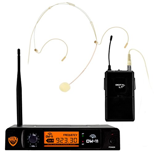 """Nady DW-11 Digital Wireless Headset Microphone System with HM-10 Omnidirectional Headmic– Ultra-low latency with QPSK modulation - XLR and ¼"""" outputs – UHF (Digital Uhf Wireless Instrument)"""