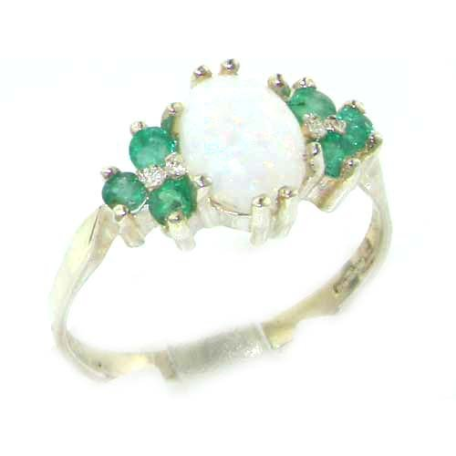 10ct Yellow Gold Natural Emerald & Opal Womens Eternity Ring sh9En