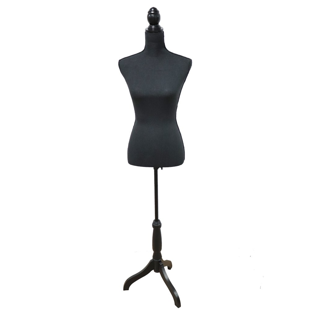 Female Mannequin Torso Body Dress Form with Black Adjustable Tripod Stand for Clothing Dress Jewelry Display, Black by Grande Juguete