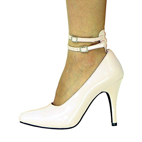 Pink 2 Straps High PVC Heel Court Sandals Pump Shoes Transvestite UK 8 9 10 11