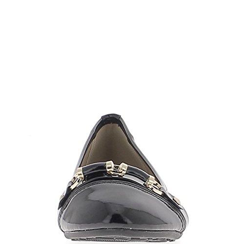 Material BI bailarinas negras con Sarga cinta 1 cm y la decoración del metal