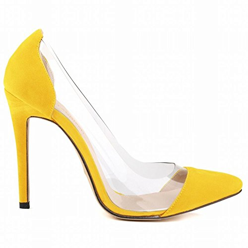 High Heels Dress Yellow YC Pointed Wedding Shoes Fine Flannel Women Shallow Mouth L With qFZPtI