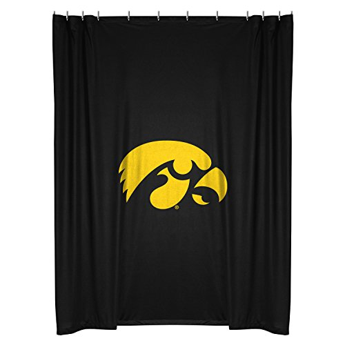 Iowa Hawkeyes COMBO Shower Curtain, 4 Pc Towel Set & 1 Window Valance/Drape Set (84 inch Drape Length) - Decorate your Bathroom & SAVE ON BUNDLING! by Sports Coverage