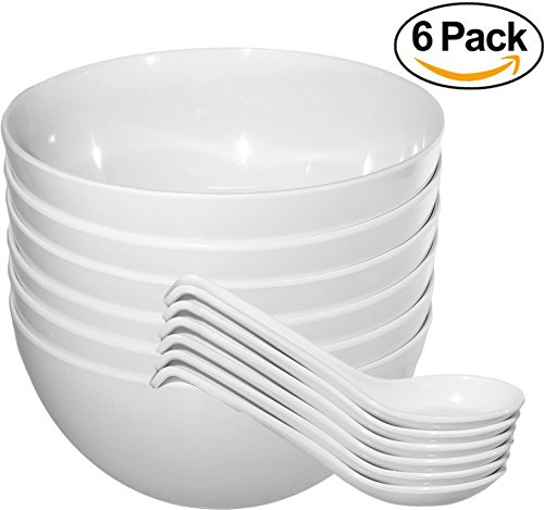 Elements Large Bowl (Chef Miso Set of 6 Extra Large Melamine Pho Bowls and Spoons - White 48 Ounce)