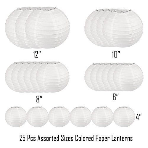 Selizo 25 Packs White Paper Lanterns with Assorted Sizes by Selizo (Image #2)