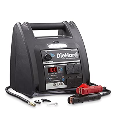 DieHard 71688 Platinum Portable Power 1150 Peak Amp 12 volt Jump Starter & Power Source with 2-USB 2-12V 2-110V Power Ports & 100 PSI Auto Shutoff Air Compressor