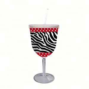 Evergreen Enterprises EG2DWG005 Insulated Acrylic Stemware with Straw, Zebra & Red (Set of 1)
