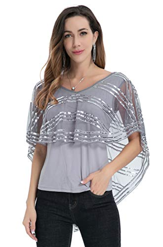 Radtengle Women's Sequin Tunic Shirts Cocktail Party Evening Glitter Beaded V Neck Sleeveless Blouses Tops Gray-Silver