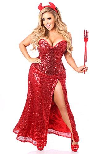 Daisy Corsets Women's Top Drawer Premium Sequin Devil Costume, Red, (Sequin Devil Costumes)