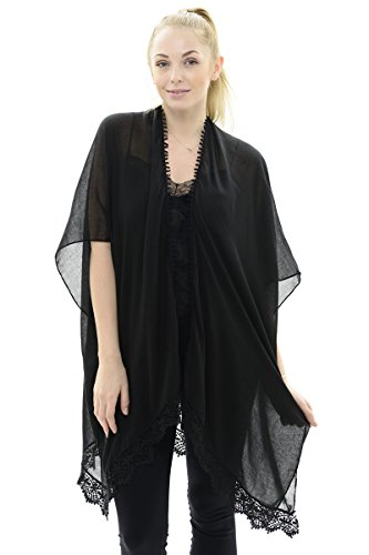 BYOS Womens Soft Sheer Open Front Long Kimono Shawl Warp With Lace Trim In Solid Color (Black)