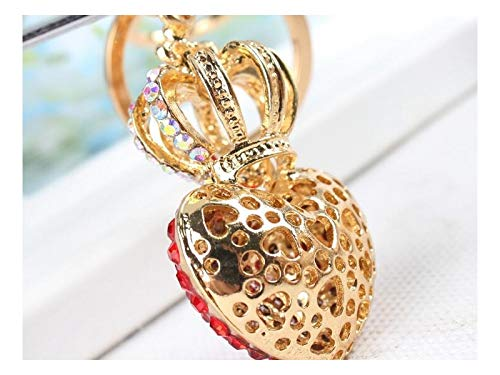 Girlfriend Gift Hot Crown Red Heart with Diamond Car Keyring Key Jewelry Keyring Fashion Gift Bag Key Holder Decorations/_Red