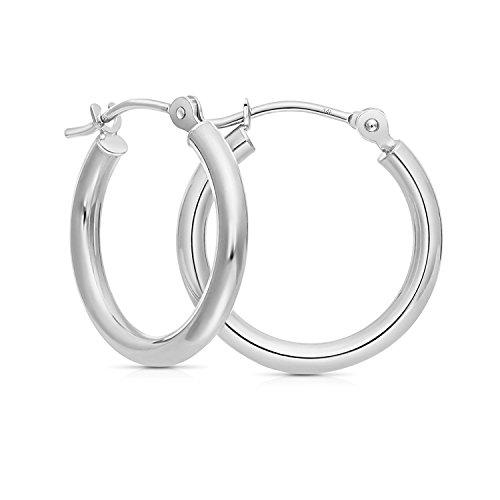 14k White Gold Round Hoop Earrings (0.5
