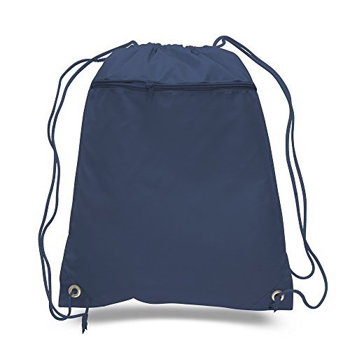 Lot of 12 - Navy Blue Polyester Drawstring Bag with Zipper, by BagzDepot