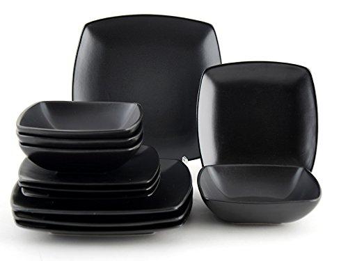 porcelain dinnerware set 12pcs dinner side plates bowls black square