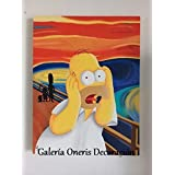 "Cuadro decorativo Moderno - Pintura ""El grito Homero Simpson"" cuadros de los simpson cuadros de los simpson cuadros de caricaturas cuadro decorativo para pared en canvas pintura acrilica para decoracion hogar sala comedor oficina pintura original hecha a mano fashion art vintage decor home decor decoración retro hipster cool arte pintura colorida para sala de estar art wall pintura decorativa decoración para pared cuadros para pared."