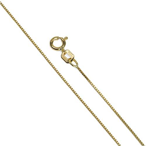 Amber by Graciana 14k Yellow Gold Box Venetian Chain 0.8 mm