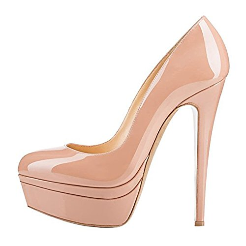 Toe Wedding Pump - Onlymaker Women's Fashion Super High Heel Slip On Stiletto Pump Platform Closed Toe Wedding Party Shoes Nude 11 M US