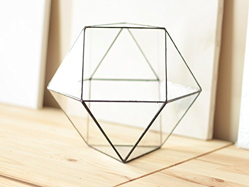 Large Geometric Terrarium, Glass Indoor Planter, Modern Planter, Indoor Gardening, Stained Glass Terrarium Container, Modern Home Decor by Waen by Waen
