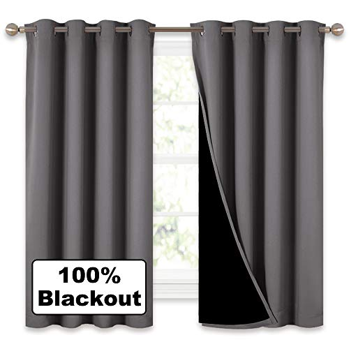 "NICETOWN 100% Blackout Curtains with Black Liners, Solid Home Decor Thermal Insulated Full Blackout 2-Layer Lined Drapes, Energy Efficiency Window Draperies for Bedroom (Grey, 2 Panels, 52""W by 63""L)"