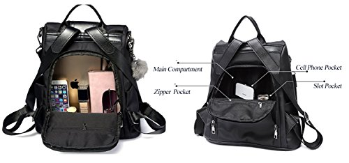 Backpacks Women Purse Bags Daypack Nylon Backpack Lightweight for Casual Rucksack Black Shoulder E50wvqw