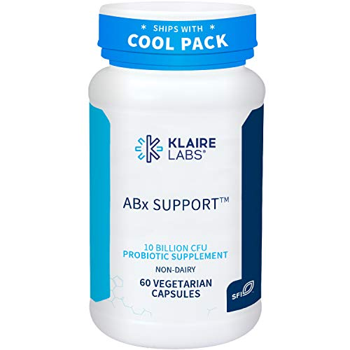 Klaire Labs ABx Support Probiotic - 10 Billion CFU Supplement for Support During Antibiotic Therapy, Hypoallergenic & Non-Dairy (60 Capsules)
