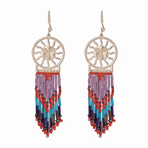 1Pair Seed Beads Dangle Earrings with Brass Findings Sun Matte Colorful 86mm