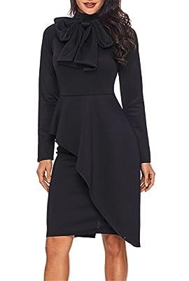 Dokotoo Womens Tie Neck Peplum High Waist Long Sleeve Bodycon Dress