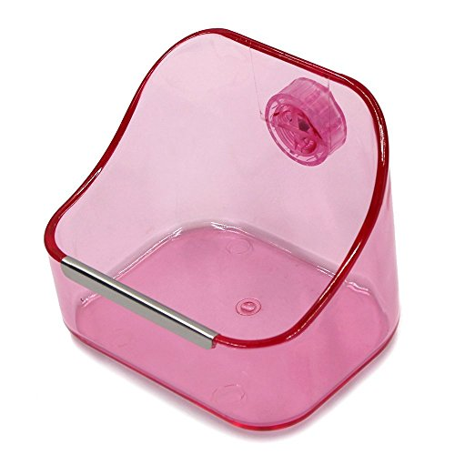 M-Aimee Plastic Cage Feeder Food n Water Hay Bowl Dish for Rabbit Guinea Pig Chinchilla Hamster Ferret (Pink)
