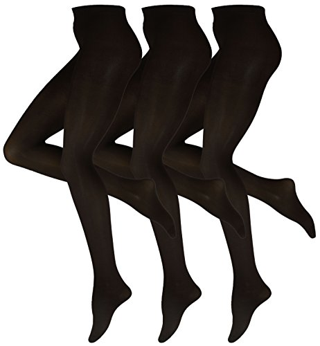 Women's Tights 70 Denier Opaque Solid Color Footed Pantyhose Tights ( Pack of 3 ) (L, Black)