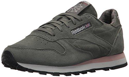 Reebok Women's CL LTHR W&W Sneaker Ironstone/Pink/Skull Grey 9.5 M US