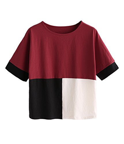 Verdusa Womens Short Sleeve Color Block Loose Crop Tee Shirt Tops