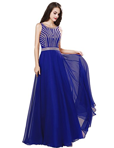 (Belle House Women's Long Royal Blue 2018 Chiffon Prom Dress A Line Formal Evening Ball Gown)