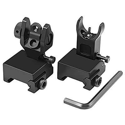 Feyachi Flip Up Iron Sight Front Rear Sight Compatible for Picatinny Rail and Weaver Rail of Rifle, 45 Degree Foldable Sights