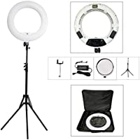 Yidoblo 18 Inch LED Ring Light Kit Bi Color Dimmable Photo Studio Video Portrait Film Selfie Youtube Photography Continuous Lighting Kits w Phone/Camera Holder,Makeup Mirror,Light Stand and Bag White