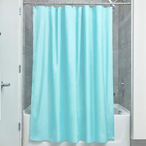 iDesign Mildew-Free Water-Repellent Fabric Shower Curtain, 72-Inch by 72-Inch, Mint