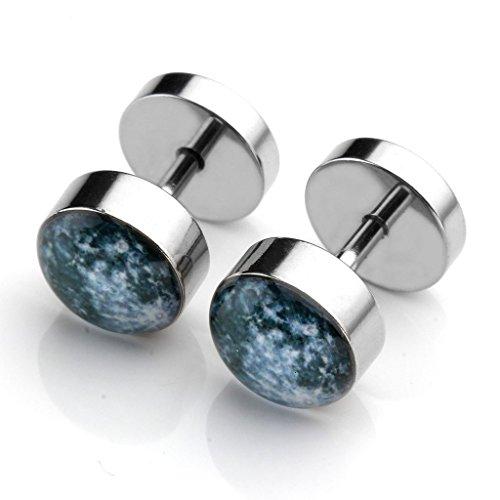 PiercingJ 2-12pcs 16G Solar System Galaxy Universe Stainless Steel Stud Barbell Earrings Illusion Ear Plug 0G Gauge Look