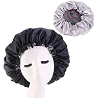 Women's Adjustable Reversible Satin Bonnet - Soft Double Sided Sleep Cap, Protects Natural Hair, Assorted Colors (Black)