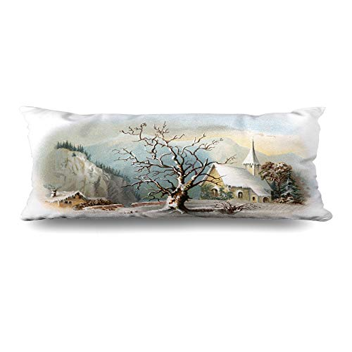 Ahawoso Body Pillows Cover 20x54 Inches Vignetted Winter Snowy Chapel Scene Early Vintage Historic Christmas Ives Currier Antique Church Old Zippered Cushion Case Home Decor Pillowcase