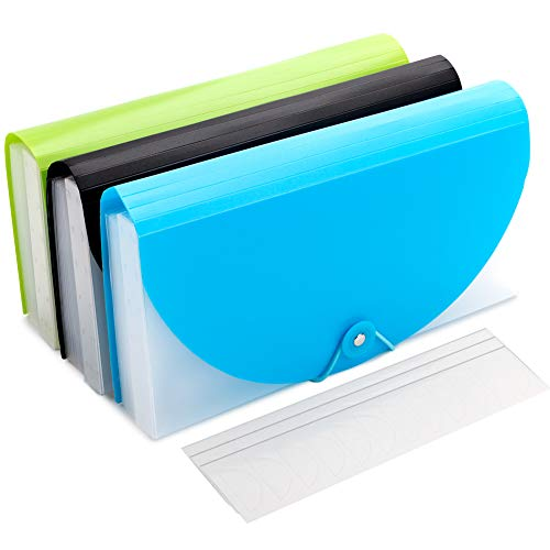 Expanding File Folder,3Pcs Portable Receipt Document Organiser Wallet for Coupons Bills Tax Item Storage with Blank Stickers,13 Pockets Accordion Folder for Home Office School ()