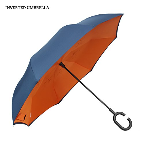 Premium Double Layer Inverted Umbrella For Car By AmbrellaOK Reverse Folding Upside Down C-Shaped Hands Free Handle - Compact Lightweight & Windproof – Ideal Gift Men & Women (Manual-Blue - Face Best For Female Shape