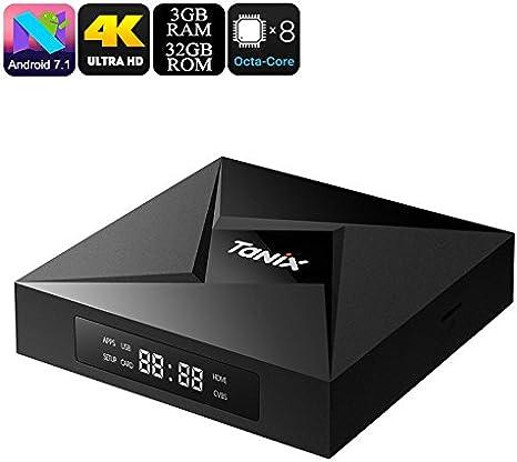 Tanix TX9 Pro TV Box Android 7.1 Octa-Core CPU 3GB RAM Bluetooth WiFi 4K DLNA: Amazon.es: Electrónica