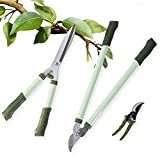 LUCKUP 3 Piece Professional Garden Tool Set Includes 25'-Lopper, 21'-Hedge Shears and 8'-Pruner Shears for The Garden