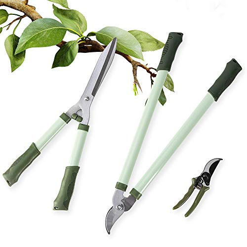 "LUCKUP 3 Piece Professional Garden Tool Set Includes 25""-Lopper, 21""-Hedge Shears and 8""-Pruner Shears for The Garden"