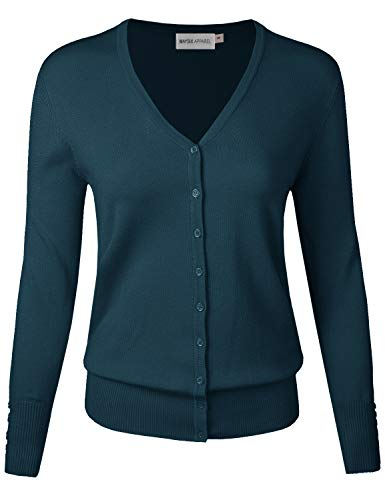 MAYSIX APPAREL Womens Long Sleeve Button Down V-Neck Knit Sweater Cardigan DARKTEAL L ()
