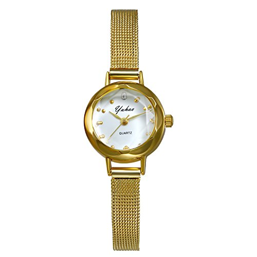 Ladies Gold Tone Small Crystal Face Bracelet Bangle Watch with Mesh Woven Stainless Steel Strap