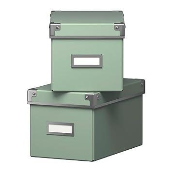 Ikea Regal Kisten ikea aufbewahrungsboxen kassett 2 er set regalkisten mit deckel