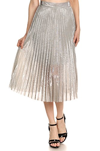 Glittery Shimmer - MeshMe Womens Noreen - Silver High Waist Waisted Sparkle Shiny Dazzle Glittery Shimmer Pleated Midi Accordion Fold Lined Knee Length Sparkly Glitter Vintage A-Line Skirt w Concealed Side Zipper Medium