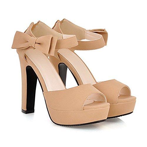 Adee Schleifen Reißverschluss Polyurethan Damen Sandalen, Beige - aprikose - Größe: 34
