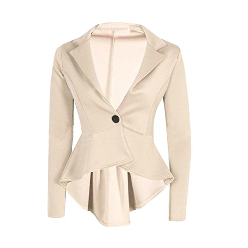 Ladies Crop Frill Slim Fit Blazer Jacket Mokao (S, Beige)