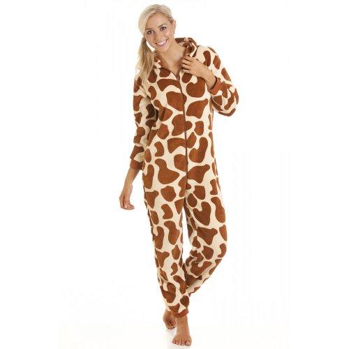 Camille Womens Ladies All In One Onesie Jumpsuit Giraffe Fleece